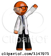 Orange Doctor Scientist Man Waving Emphatically With Left Arm