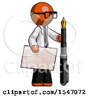 Orange Doctor Scientist Man Holding Large Envelope And Calligraphy Pen