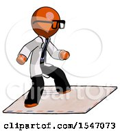 Orange Doctor Scientist Man On Postage Envelope Surfing