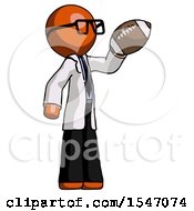 Orange Doctor Scientist Man Holding Football Up