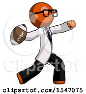 Orange Doctor Scientist Man Throwing Football