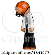 Orange Doctor Scientist Man Depressed With Head Down Turned Left