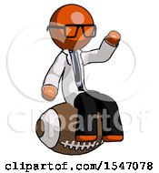 Orange Doctor Scientist Man Sitting On Giant Football