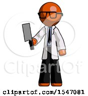 Orange Doctor Scientist Man Holding Meat Cleaver