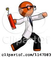Orange Doctor Scientist Man Throwing Dynamite
