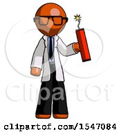 Orange Doctor Scientist Man Holding Dynamite With Fuse Lit