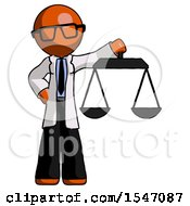 Orange Doctor Scientist Man Holding Scales Of Justice