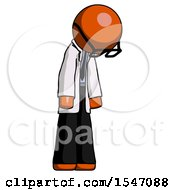 Orange Doctor Scientist Man Depressed With Head Down Turned Right