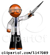 Orange Doctor Scientist Man Holding Sword In The Air Victoriously
