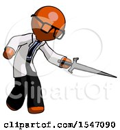 Orange Doctor Scientist Man Sword Pose Stabbing Or Jabbing