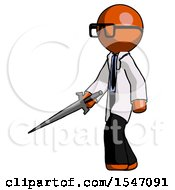 Orange Doctor Scientist Man With Sword Walking Confidently