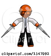 Orange Doctor Scientist Man Two Sword Defense Pose