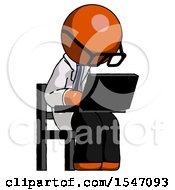 Orange Doctor Scientist Man Using Laptop Computer While Sitting In Chair Angled Right