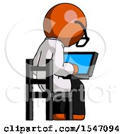 Orange Doctor Scientist Man Using Laptop Computer While Sitting In Chair View From Back