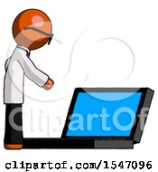 Orange Doctor Scientist Man Using Large Laptop Computer Side Orthographic View