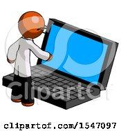 Orange Doctor Scientist Man Using Large Laptop Computer