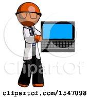 Orange Doctor Scientist Man Holding Laptop Computer Presenting Something On Screen