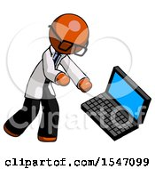 Orange Doctor Scientist Man Throwing Laptop Computer In Frustration