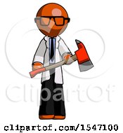 Orange Doctor Scientist Man Holding Red Fire Fighters Ax