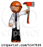 Orange Doctor Scientist Man Holding Up Red Firefighters Ax