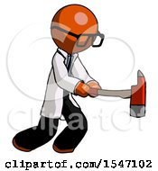 Orange Doctor Scientist Man With Ax Hitting Striking Or Chopping