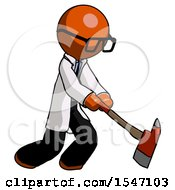 Orange Doctor Scientist Man Striking With A Red Firefighters Ax