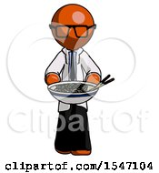 Orange Doctor Scientist Man Serving Or Presenting Noodles