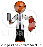 Orange Doctor Scientist Man Holding Large Steak With Butcher Knife