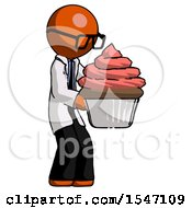 Orange Doctor Scientist Man Holding Large Cupcake Ready To Eat Or Serve