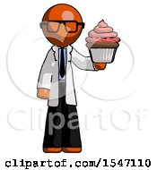 Orange Doctor Scientist Man Presenting Pink Cupcake To Viewer
