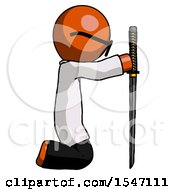Orange Doctor Scientist Man Kneeling With Ninja Sword Katana Showing Respect by Leo Blanchette
