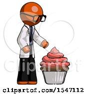 Orange Doctor Scientist Man With Giant Cupcake Dessert