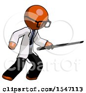 Orange Doctor Scientist Man Stabbing With Ninja Sword Katana