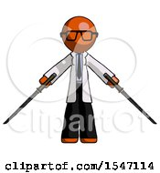 Orange Doctor Scientist Man Posing With Two Ninja Sword Katanas by Leo Blanchette