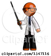 Orange Doctor Scientist Man Standing Up With Ninja Sword Katana by Leo Blanchette