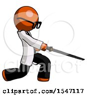 Orange Doctor Scientist Man With Ninja Sword Katana Slicing Or Striking Something by Leo Blanchette