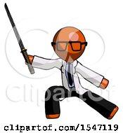 Orange Doctor Scientist Man With Ninja Sword Katana In Defense Pose