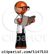 Poster, Art Print Of Orange Doctor Scientist Man Reading Book While Standing Up Facing Away
