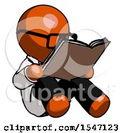 Poster, Art Print Of Orange Doctor Scientist Man Reading Book While Sitting Down