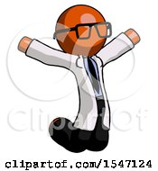Orange Doctor Scientist Man Jumping Or Kneeling With Gladness
