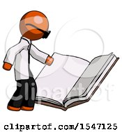 Orange Doctor Scientist Man Reading Big Book While Standing Beside It