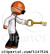 Orange Doctor Scientist Man With Big Key Of Gold Opening Something