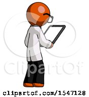Orange Doctor Scientist Man Looking At Tablet Device Computer Facing Away