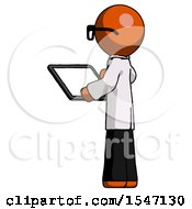 Orange Doctor Scientist Man Looking At Tablet Device Computer With Back To Viewer