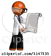 Orange Doctor Scientist Man Holding Blueprints Or Scroll