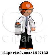 Orange Doctor Scientist Man Begger Holding Can Begging Or Asking For Charity