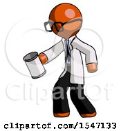 Orange Doctor Scientist Man Begger Holding Can Begging Or Asking For Charity Facing Left
