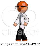 Orange Doctor Scientist Man Man Walking Turned Left Front View