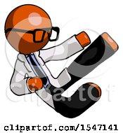 Orange Doctor Scientist Man Flying Ninja Kick Right