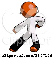 Orange Doctor Scientist Man Karate Defense Pose Left by Leo Blanchette